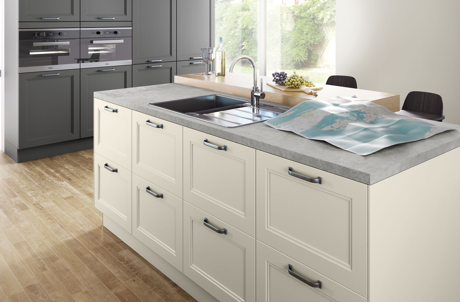 5035 magnolia satin lacquer lava grey satin lacquer crowthorne kitchens. Black Bedroom Furniture Sets. Home Design Ideas